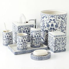 All eight pieces in the Orsay Fine Porcelain Bath Accessories in Blue on White - Orsay Fine Porcelain Blue and White Bath Accessories White Bathroom Accessories, Decorative Accessories, Asian Design, Bathroom Essentials, Luxury Bath, Fine Porcelain, White Decor, Amazing Bathrooms, Kitchen And Bath