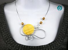 Yellow aluminium wire necklace can be modified  by CreationsGEBO