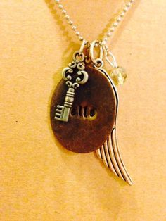 Hand Stamped Personalized Necklace / Angel Wing / Key / Great Gift / Unique on Etsy, $23.00