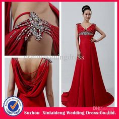 Wholesale 2012 New Style Red Elegant V-Neck Crystal Empire A-Line Long Design Evening Prom Dresses Gown, Free shipping, $176.58-196.65/Piece | DHgate