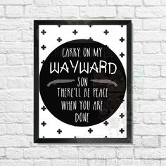 Carry on my wayward Super Natural print by ThePaperedTribe on Etsy