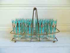 Vintage aqua drinking glasses.
