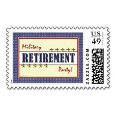 Military Retirement Party Stars Postage Stamp. I love this design! It is available for customization or ready to buy as is. All you need is to add your business info to this template then place the order. It will ship within 24 hours. Just click the image to make your own!