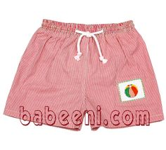 An absolutely stunning shorts for little boy when going swimming. It is made of fine fabric in red stripe with hand embroidery pattern of a colorful water ball. Specially, it is fully lined by soft knit cotton.  Many new lovely shorts for your choice at : http://babeeni.com/Boy-Smocked-Swimwear/300&curPg=all