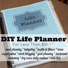 DIY Planner: Life Planner for Less than 5 dollars. Super cheap and it's the only thing that keeps me from buying an Erin Condren Life Planner. Planer Organisation, Life Organization, Organizing Life, Printable Organization, Organizing Paperwork, Home Binder, Budget Binder, Home Management Binder, Time Management