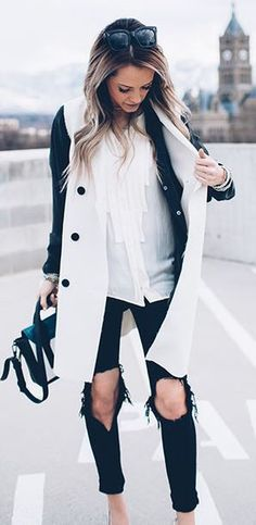 #fall #outfits / black and white coat