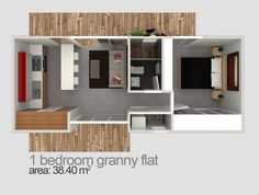 bayview granny flat ( Could Swap the kitchen area with the lounge and have doors out the end)