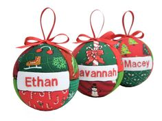Three Personalized Family Christmas Ornaments Children or