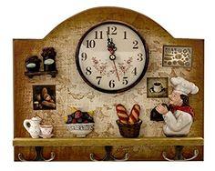 Heartful Home Fat Italian Chef Kitchen Decor Clock With Hooks   Unique Idea  For A Wedding