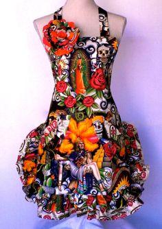 Womens Apron Dios Los Muertos - Sugar Skull Day of Dead Virgen de Guadalupe  Double Ruffles. $36.95, via Etsy.