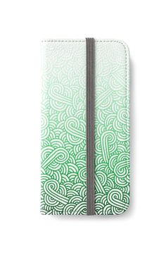 Gradient green and white swirls doodles iPhone Wallet by @savousepate on @redbubble #iphonewallet #phonewallet #zentangle #doodles #abstract #modern #graphic #geometric #ombre #gradient #green #mint #emerald #forestgreen #irish #stpatricksday #saintpatricksday
