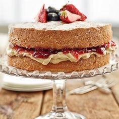 Beautifully alyered Victoria Sponge Cake