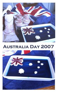We could make with blue jelly (have as snack/afternoon tea with some fruit) Australia Day Celebrations, Australian Party, Aussie Christmas, Aussie Food, Fruit Recipes, Recipies, Anzac Day, Different Holidays, Food Decoration