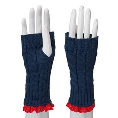 Fingerless Crochet and Lace Gloves-Navy/Red - Occasionally Made - Classic Gifts with a Trendy Twist!