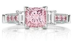 Calleija. The Pink Princess. Platinum 1.52ct Natural Australian Argyle Pink Princess Cut Diamond Ring.