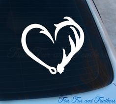 Antler Hook Heart Decal Hunting Fishing by FinsFurAndFeathers