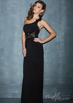 Black Night Moves 7083 Jersey One Shoulder Dress