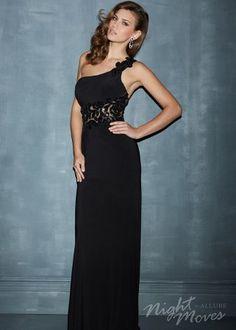 Black Night Moves 7083 Jersey One Shoulder Dress