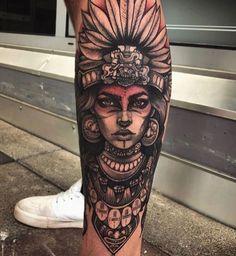 Aztec Tattoos Sleeve, Leg Sleeve Tattoo, Leg Tattoo Men, Sleeve Tattoos For Women, Leg Tattoos, Body Art Tattoos, Tattoos For Guys, Tattoo Girls, Wolf Girl Tattoos