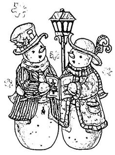 Snowman and snowlady caroling. Christmas Coloring Pages, Coloring Book Pages, Christmas Colors, Christmas Crafts, Christmas Embroidery Patterns, Colouring Pics, Tole Painting, Outlines, Digital Stamps