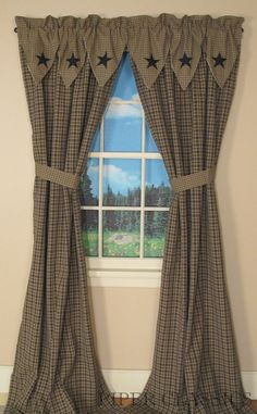 Primitive Curtains On Clearance | Country Drapes and Panel Curtains | Vintage Star Black Panels- 84 ...