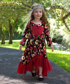 Mia Belle Baby Red Floral Lace H-Low Dress - Toddler & Girls | zulily