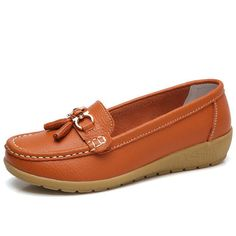 Clothing, Shoes & Accessories Women's Shoes Sas Moccasin Toe Walking Heeled Loafer Leather Size 11 & 1/2 M Womens Tan