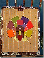 Paint chip turkey.  I love paint chip crafts, beautiful and free!