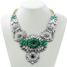 Hot Selling Fashion Mixed Style Chain Crystal Flower Bib Big Statement Necklace | eBay