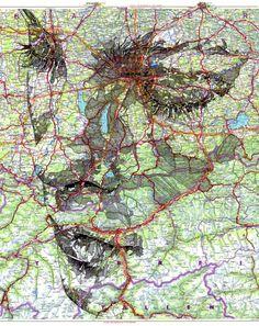 Mappe stradali e metropolitane si trasformano in volti languidi. Visi tra linee complesse.  More @ www.collater.al/arts/ed-fairburn-map-portraits