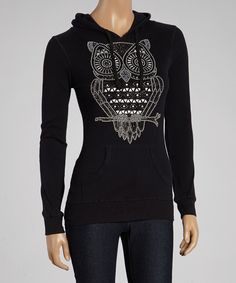 Loving this Sweet Girl Black Graphic Owl Hoodie on #zulily! #zulilyfinds
