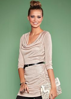 Belted Tunic from VENUS |Accentuating at any shape, the slouchy cowl neck and waist belt are sure to make you feel good.