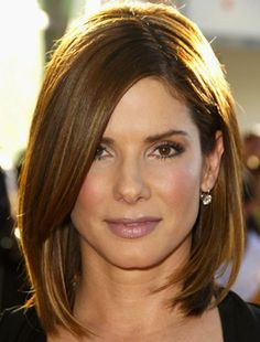 Sandra Bullock ... winter hair cut idea: cutting off the ombre highlights.
