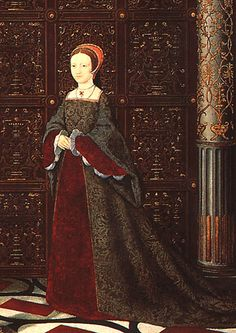 Princess Elizabeth, c. 1543-1547.  'The Family of Henry VIII', detail. Anon. Hampton Court Palace. © The Royal Collection.