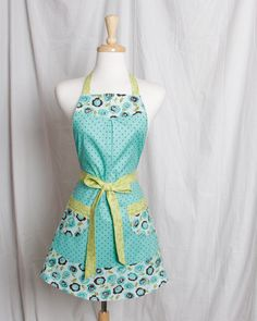 Vintaged inspired Apron Premium quilting fabric Retro flowers n polka dots Turquoise Brown and Green.