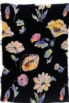 Wax ground with overlaying paint layer rubbed and scrated into for a flora still-life study - image: dress fabric ~ France 1936 yr 7-9
