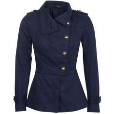 Miss Real Navy Military Jacket ($48) ❤ liked on Polyvore