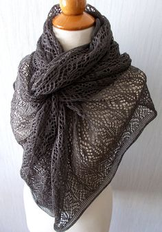 Linen Scarf Lace Shawl Knitted Natural Summer Wrap in Dark Earth Brown – Knitting Scarf Fingerless Gloves Knitted, Knitted Shawls, Knitting Scarves, Summer Wraps, Yarn Inspiration, Summer Accessories, Natural Linen, Summer Wardrobe, Lace