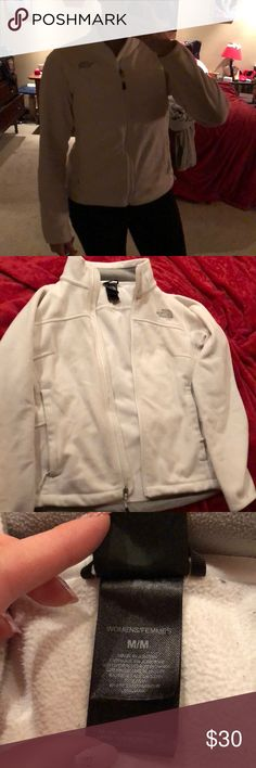 White North Face Zip up jacket Somehow (by some miracle) this jacket is still pure white! Gently used- but no dirty areas (see pictures with bottom of jacket and cuffs). 2 zip up pockets and slim fit. Very warm, loved using it in the fall and spring. Grey accents. No holes or tears. Some minor pilling (not noticeable in my opinion). Send me an offer! The North Face Jackets & Coats