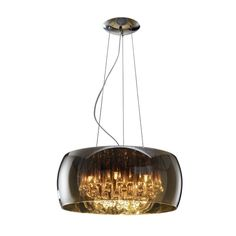 Add ambience to your home with this 5-light pendant, featuring crystal droplets encased in a shimmering glass shade.