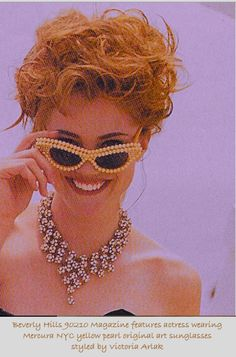 62aa17c2b353 Beverly Hills 90210 Magazine 1992 features an actress wearing Mercura NYC  original yellow pearl sunglasses styled