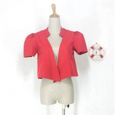 Fashionable Short Puff Sleeves Red Suiting Blazer For Women