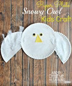 Paper Plate Snowy Owl Kids Craft. Perfect for when learning about arctic animals! - abccreativelearning.com