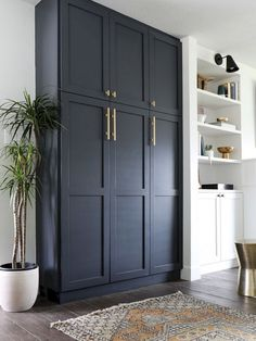Black built-in cabinets. Perfect for a mudroom or laundry room. Those gold pulls are everything! Stunning Diy Kitchen Storage Solutions For Small Space And Space Saving Ideas No 01 Kitchen Storage Solutions, Diy Kitchen Storage, Laundry Room Storage, Laundry Rooms, Ikea Laundry, Storage Room, Ikea Living Room Storage, Bedroom Storage Solutions, Ikea Kitchen Storage Cabinets