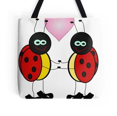 Lady Bugs Holding Hands With Heart. U0027