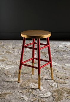 Emery Dipped Gold Leaf Counterstool Red / Gold | Modern Counter Chair by Safavieh at Contemporary Modern Furniture  Warehouse - 4