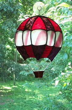 Stained Glass Hot Air Balloon Suncatcher Red/Purple/Pink