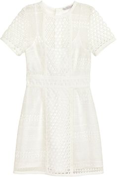 Designer Clothes, Shoes & Bags for Women White Lace Dress Short, White Dress, White Cocktail Dress, Cocktail Dresses, H&m Shorts, Short Sleeve Dresses, Lace Dresses, Polyvore, Outfits