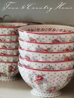Red, gray, blue and polka dots...perfect dishes