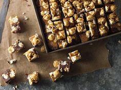 Triple-Caramel Popcorn Fudge...Dulce de leche, salted caramel and caramel popcorn make this fudge indulgent and delicious.